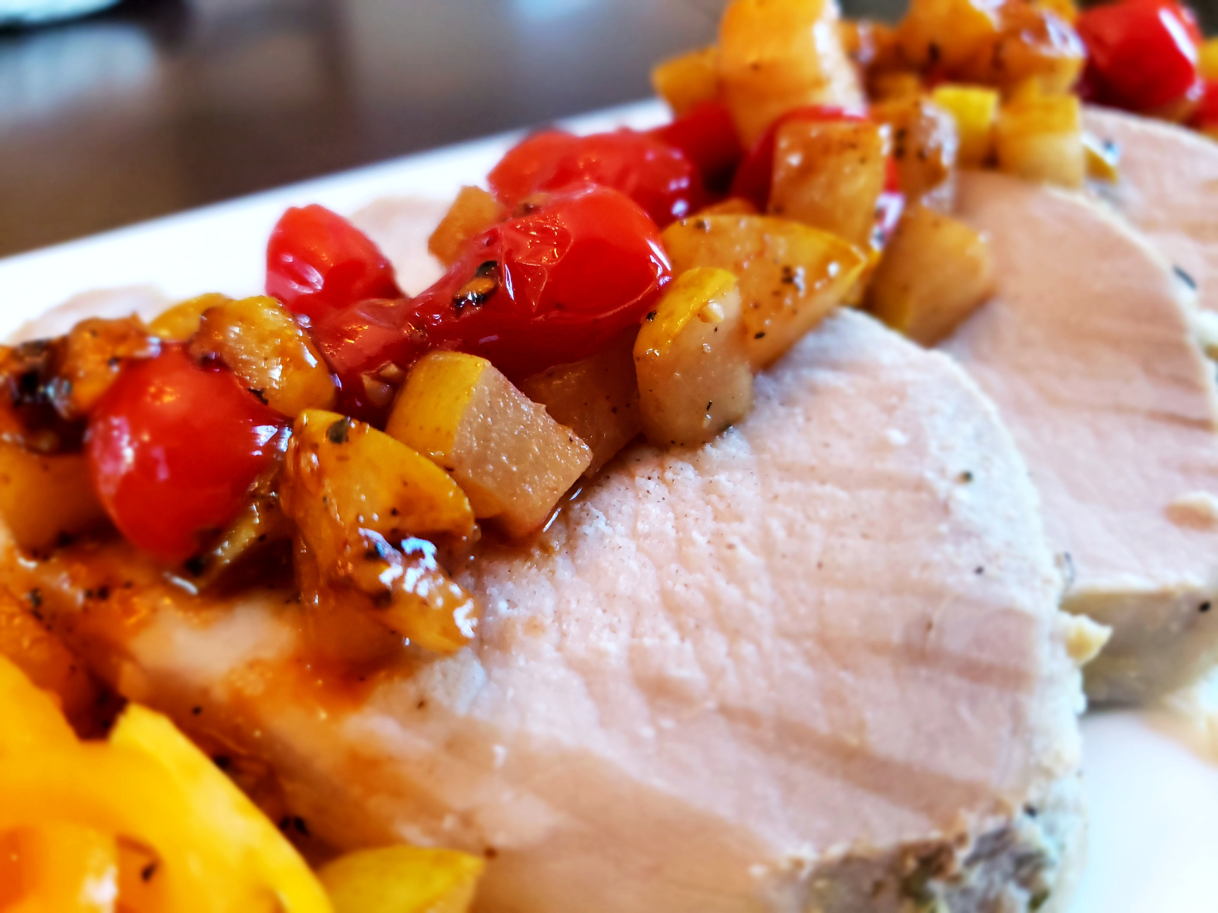 Tender Pork Roast with Autumn Harvest Rustic Tomato Relish